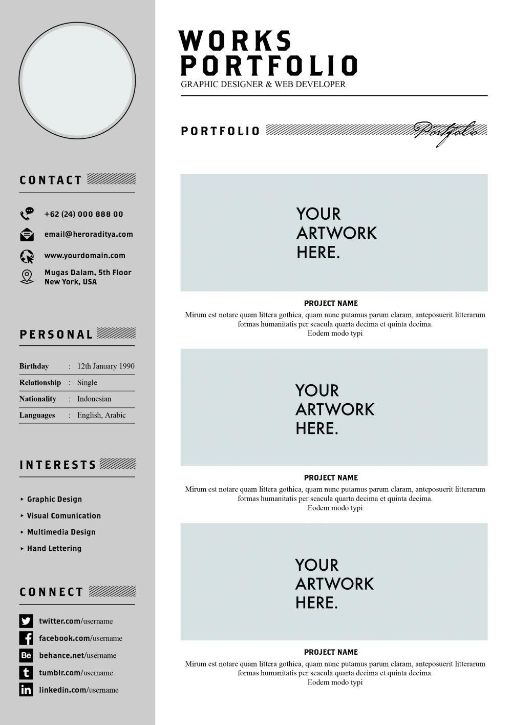 平面网站设计师个人简历psd模板