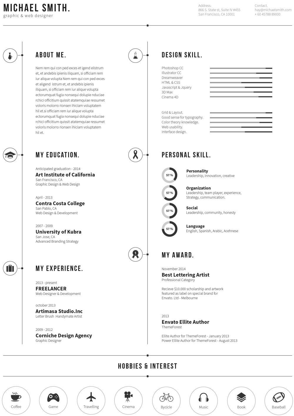 平面或网站设计师个人简历ai模板个人简历psd模板