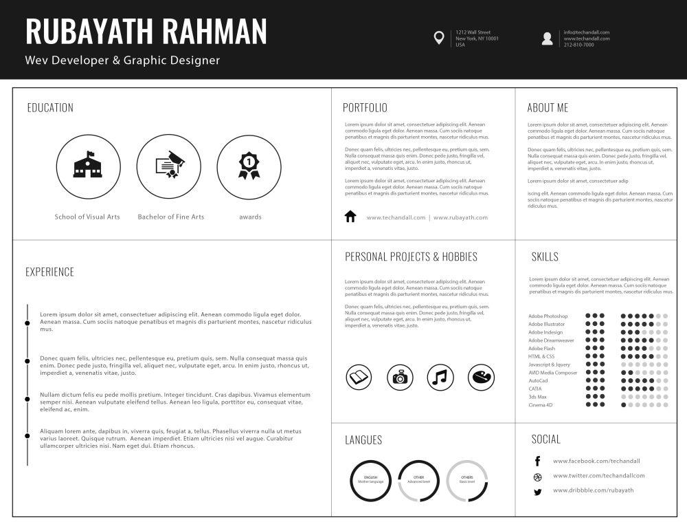 平面或网站设计师个人简历ai模板