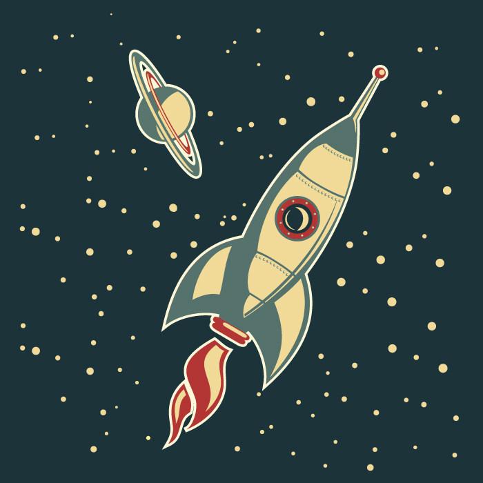 火箭升天矢量图