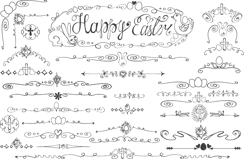 黑白线条花纹箭头分割线素材  边框 花纹 黑白 线条 矢量图 英文字母