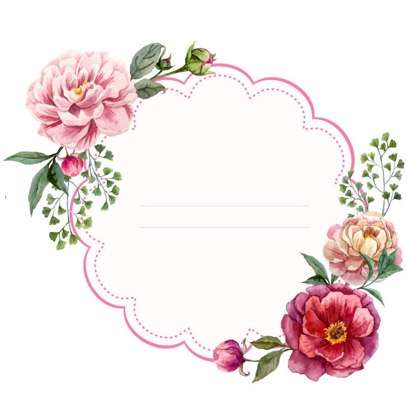 单个花圈花环边框 边框矢量图 花卉边框 花圈 花环 边框 矢量图 花卉