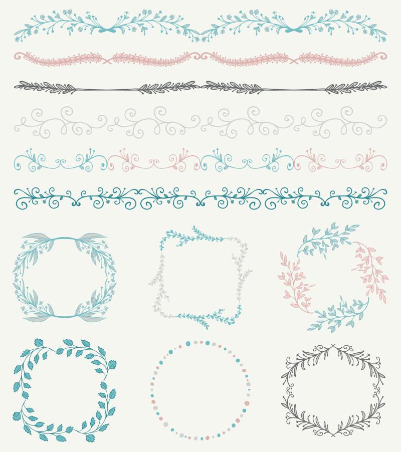 花纹边框装饰组合小清新分割线