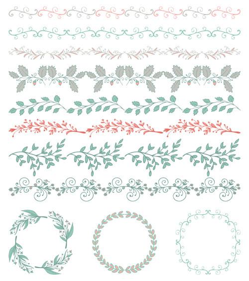 小清新植物花纹边框分割线素材