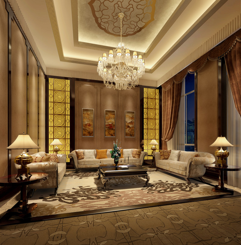室内 室内家装模型 室内场景模型 欧式客厅模型