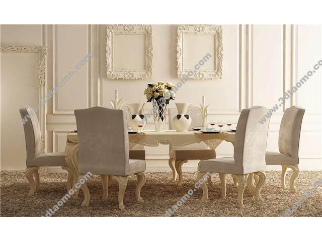 欧式餐桌椅模型