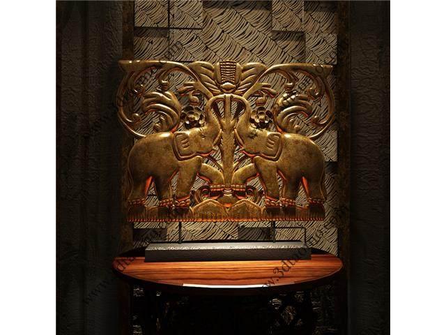 东南亚风情--木雕双象模型