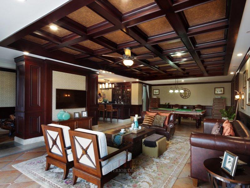 鸣石国际g地块别墅v4户型样板房美式乡村风格室内住宅设计实景图