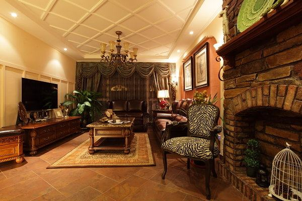 200平方复式美式装修玫瑰雅居田园风格室内住宅设计实景图图片