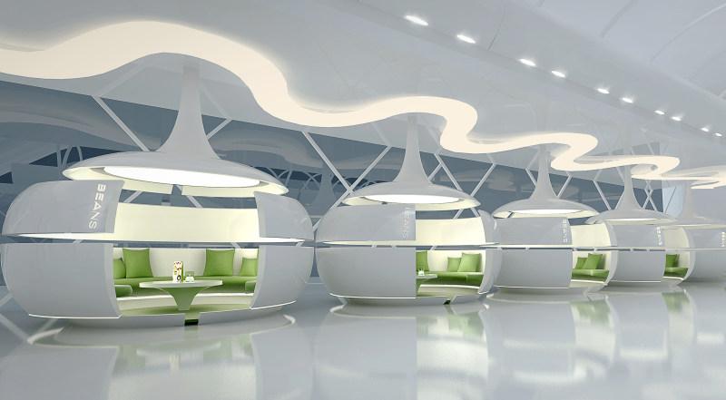 室内装潢设计 咖啡 现代 简约 时尚 艺术 抽象 线条 组合 几何 餐饮