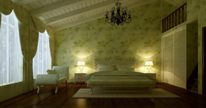 现代欧式温馨家居住宅别墅装修设计方案效果图实景图