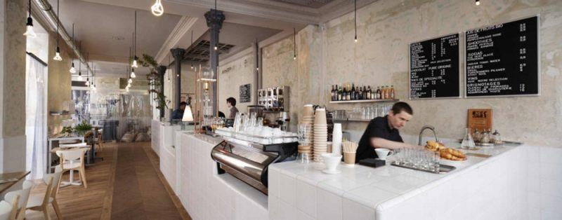 法国巴黎习惯咖啡厅混搭风格室内装饰装修设计实景图