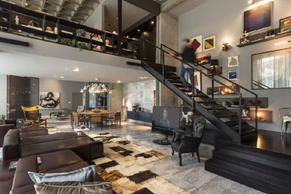 巴西普拉亞海岸公寓 工業風格住宅公寓空間室內裝飾裝修設計實景圖