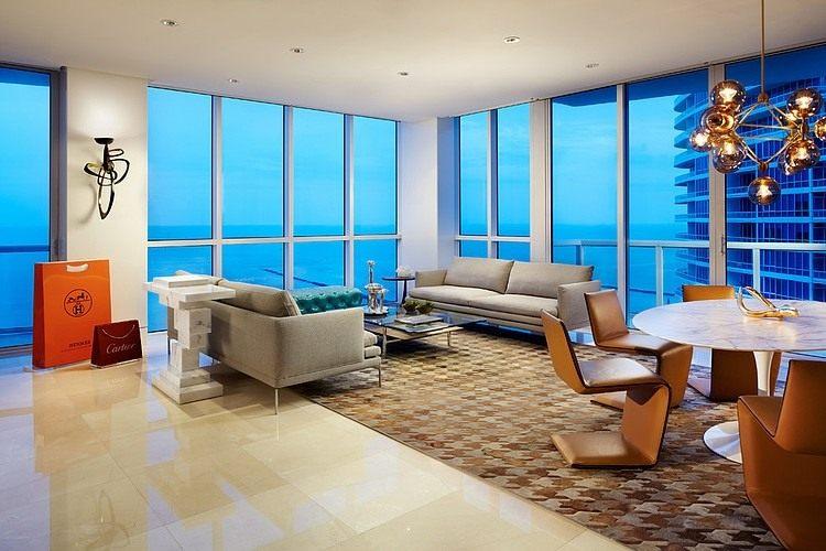 迈阿密宽敞的海滩别墅混搭风格住宅空间装饰装修设计实景图
