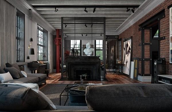 工業風格住宅公寓空間室內裝飾裝修設計實景圖