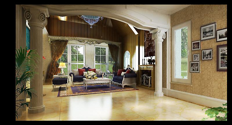 别墅白奢华古典欧式风格经典住宅艺术装饰设计室内设计效果图实景图欧