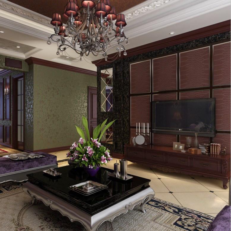 室内 住宅装修 欧式风格 新古典客餐厅装饰设计方案效果图奢华欧式
