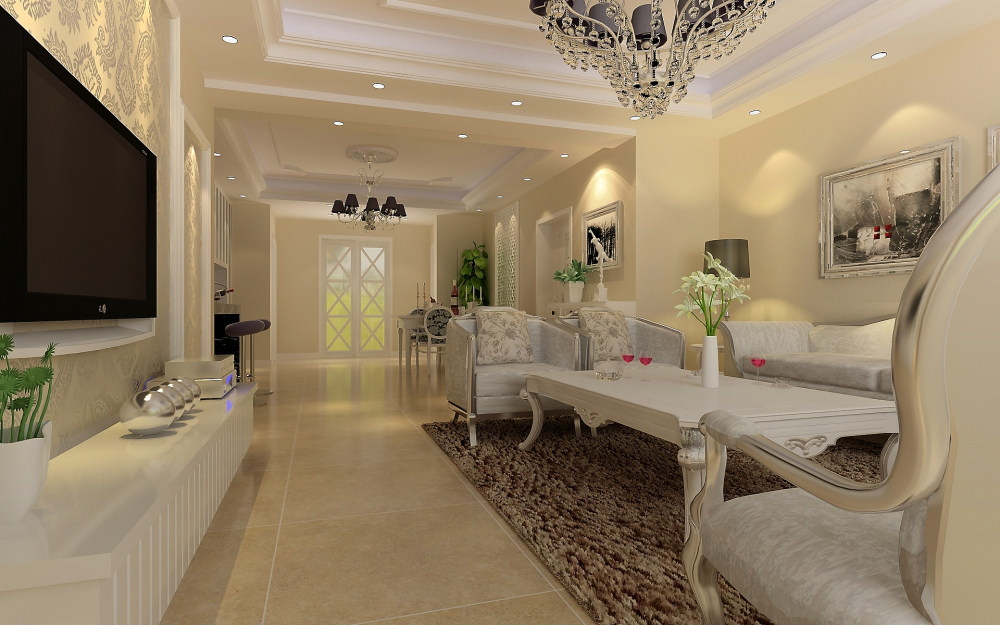 室内 住宅装修 欧式风格 现代欧式简洁温馨舒适家居客厅餐厅装饰设计