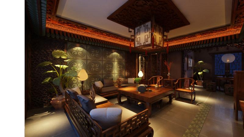 暗调新作新中式风格住宅别墅家居家装室内装饰装修设计实景图