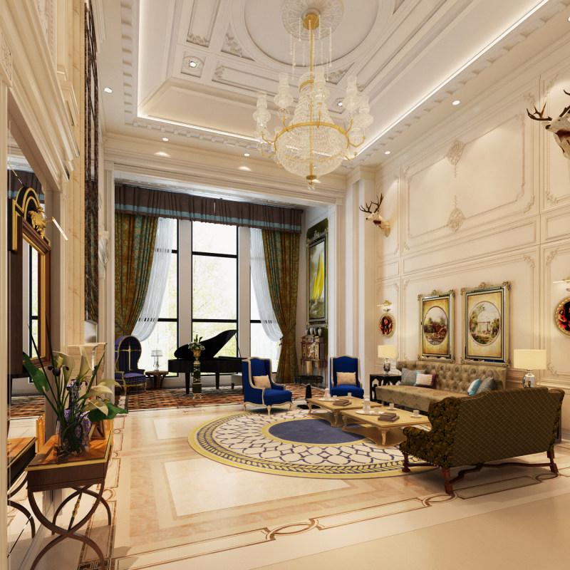 奢华古典欧式风格经典住宅艺术装饰设计室内设计效果图实景图欧式风