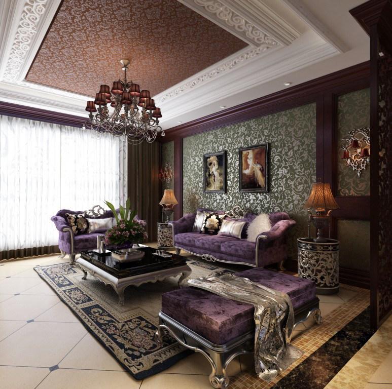 新古典客餐厅装饰设计方案效果图奢华欧式风格经典住宅设计,装饰艺术