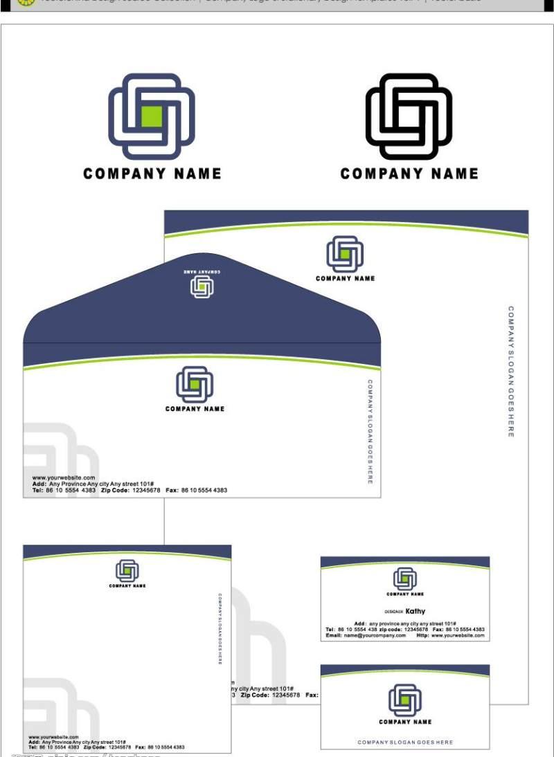 简约信封卡片VI模板设计