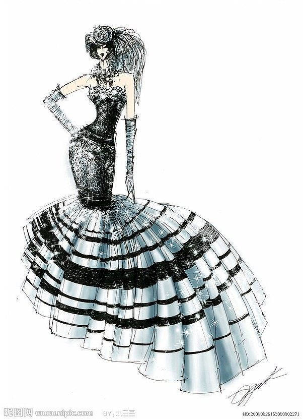 婚纱手绘图 服装设计效果图 服装手绘图图片