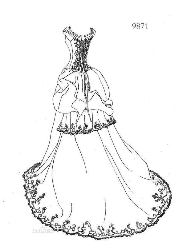服装设计手绘图 服装设计效果图 黑白线稿jpg-(图片:)