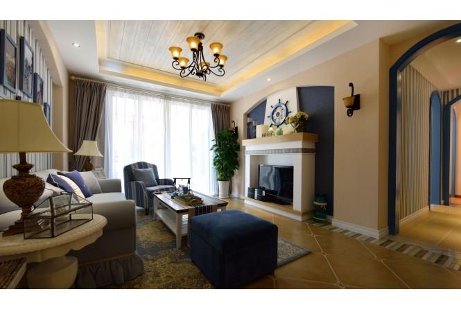 宜春上高m4户型样板房地中海风格家装住宅空间装饰装修家装设计实景图