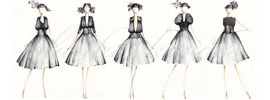 服装设计手绘图 服装设计效果图 手绘插画 手绘人物