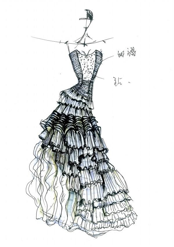 婚纱手绘图 服装设计效果图 服装手绘图