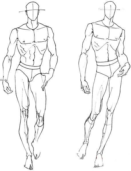 人体结构人物线稿 服装设计手绘图 服装设计效果图 黑白线稿