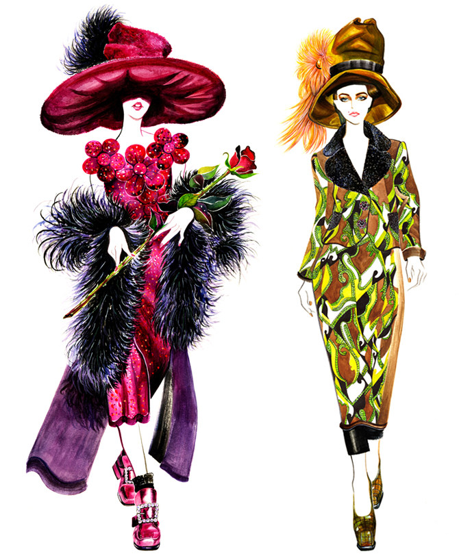 马克笔服装手绘 服装设计手绘图 服装设计效果图图片