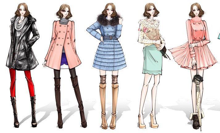 服装设计手绘图 服装设计效果图 手绘插画 手绘人物图片