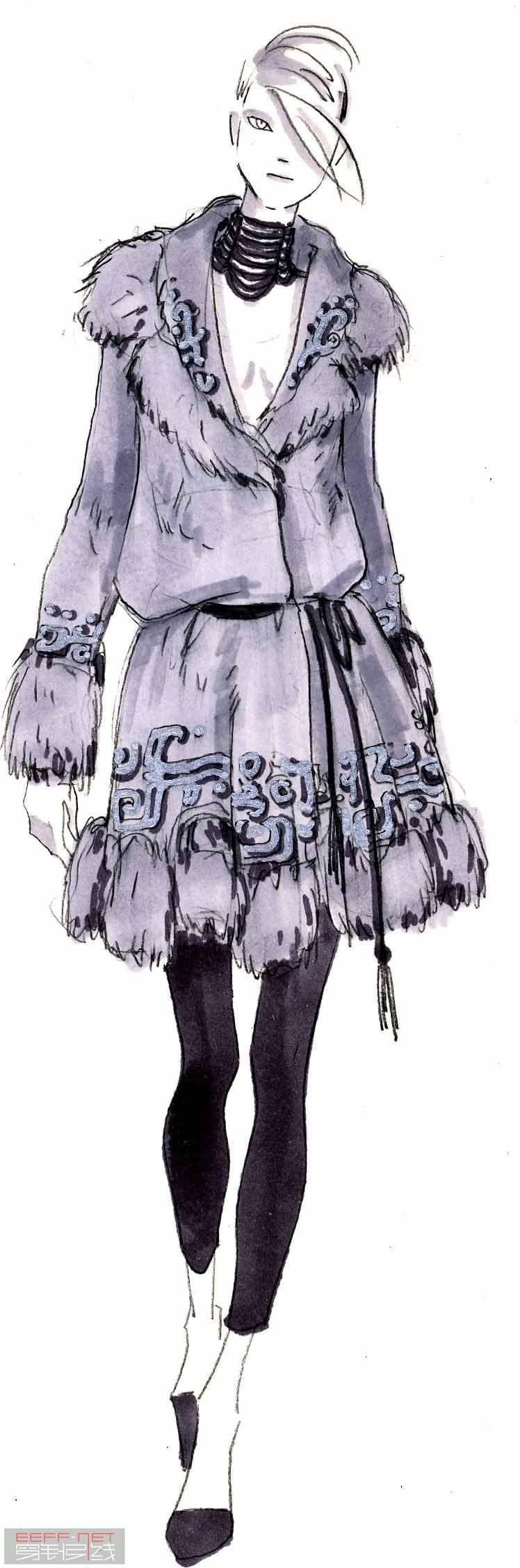 时装设计手绘图 服装设计手绘图 服装设计效果图图片