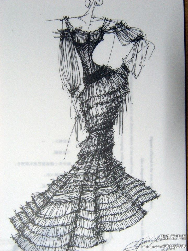 服装设计手绘图 服装设计效果图 黑白线稿图片