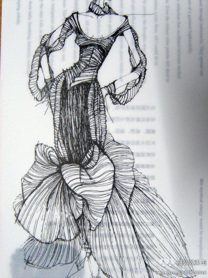 服装设计手绘图 服装设计效果图 黑白线稿