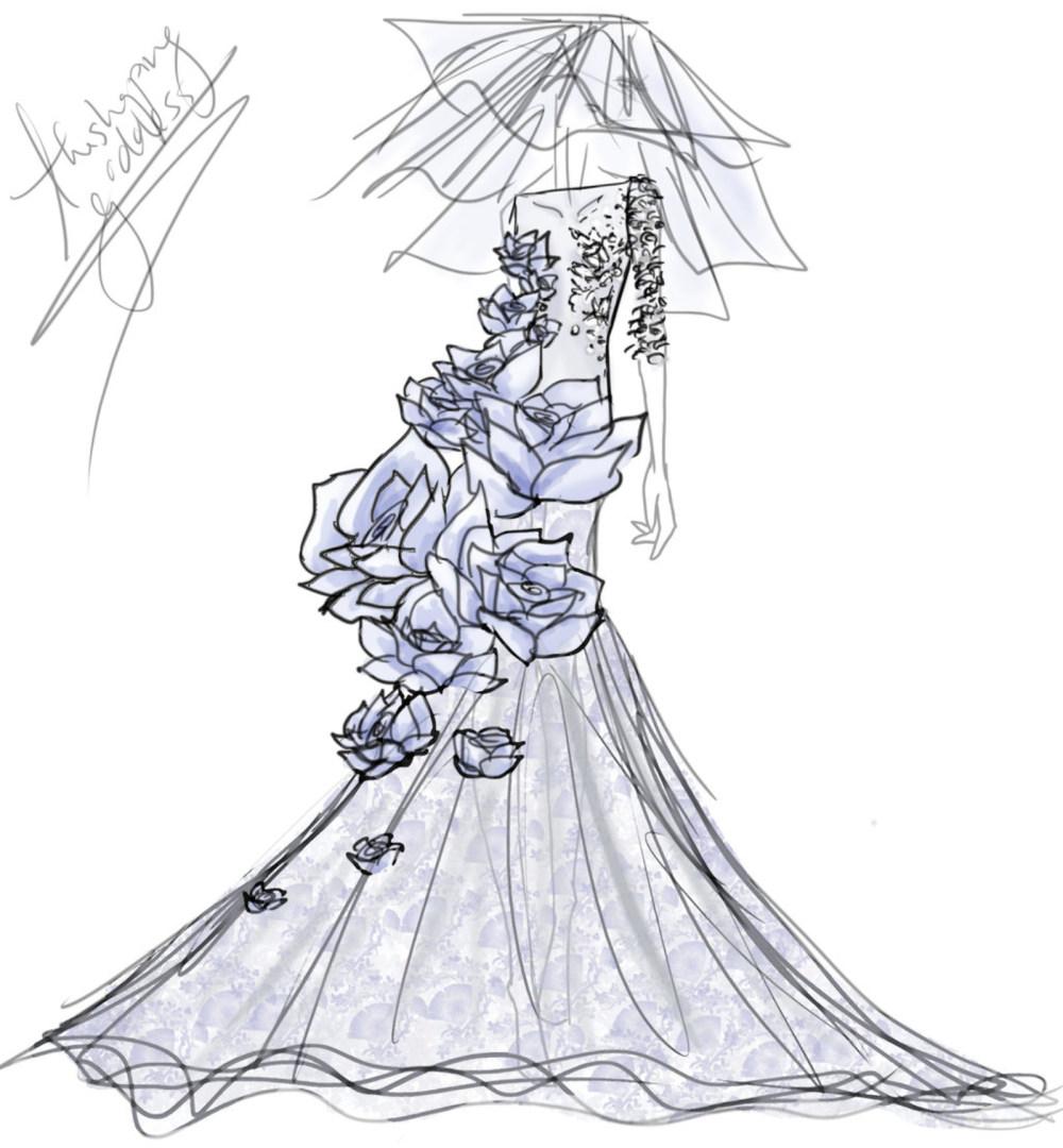 时装设计手绘图 服装设计手绘图 服装设计效果图