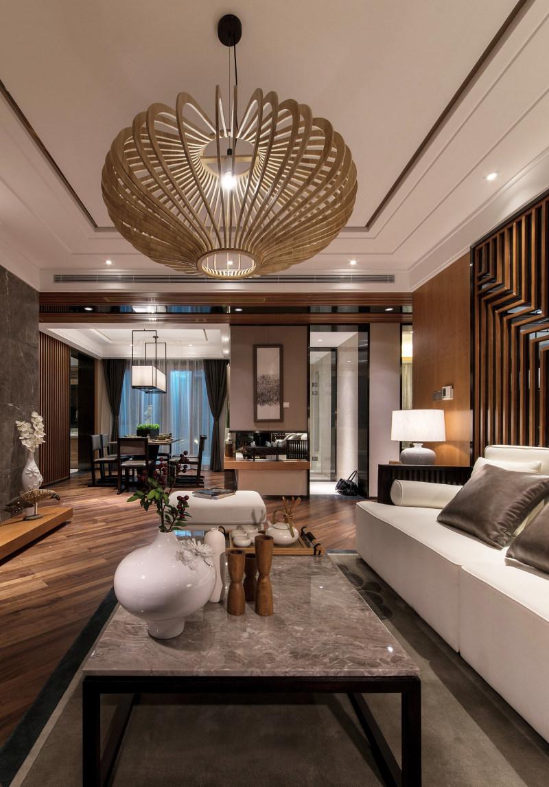 迎宾府日式样板房新中式风格住宅别墅家居家装室内装饰装修设计实景图