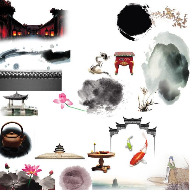 中国风景物装饰素材图psd-(图片编号:1000073625)