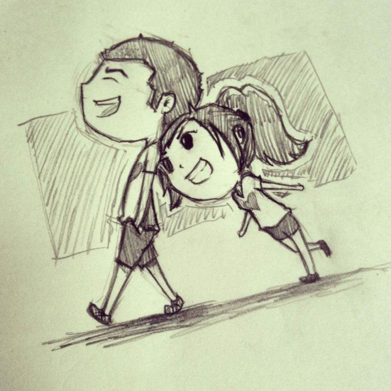 可爱情侣铅笔画