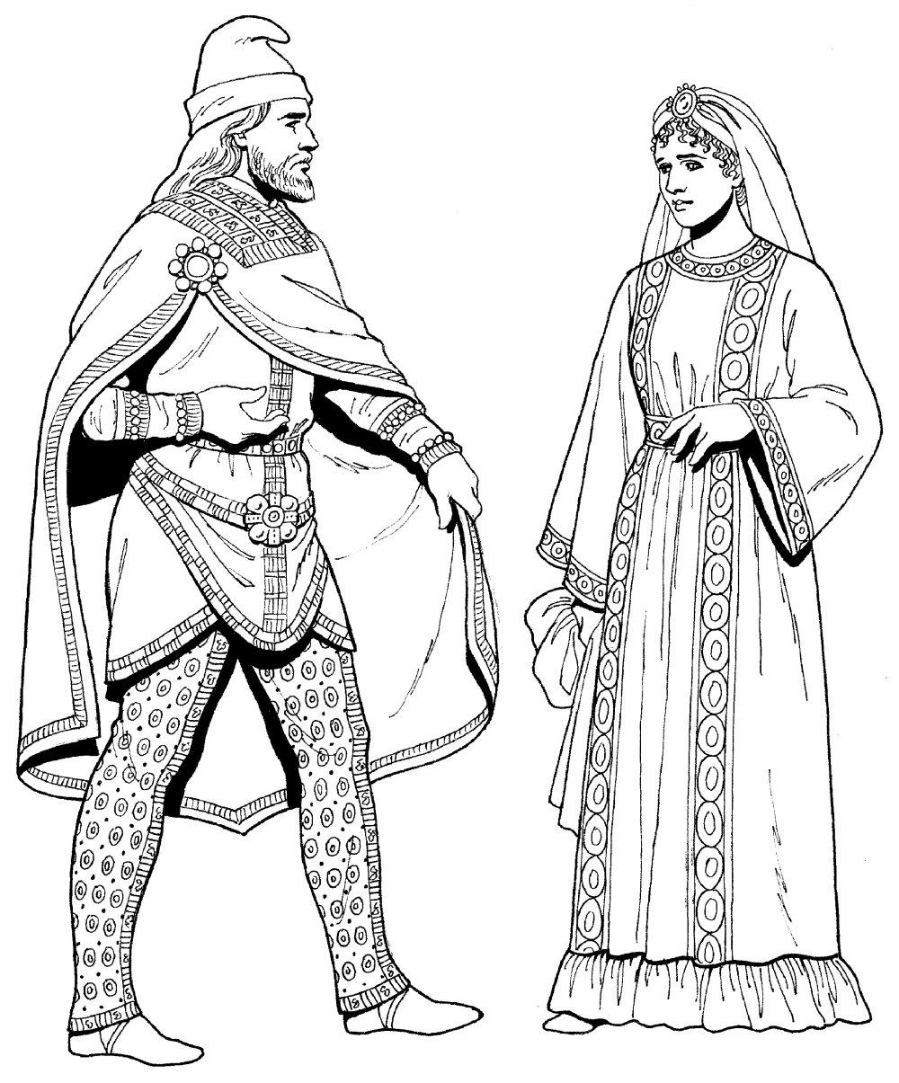 中世纪人物速写图案素材