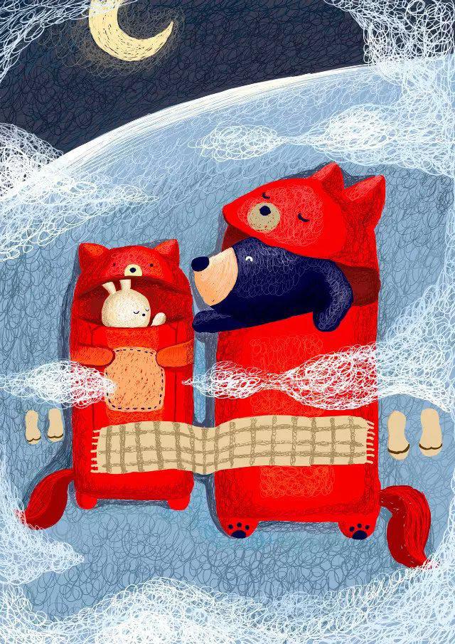 兔子和熊儿童插画