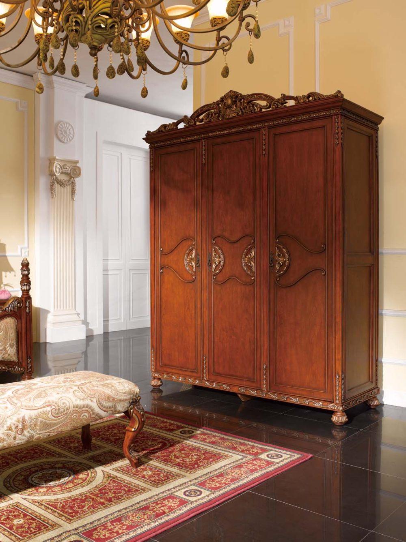 美式家具美式做旧乡村田园雕花风格三门衣柜图片