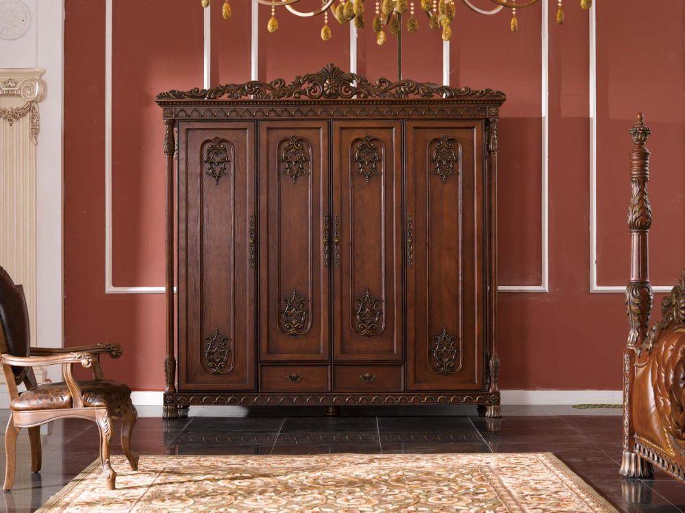 美式家具美式做旧乡村田园雕花风格衣柜图片