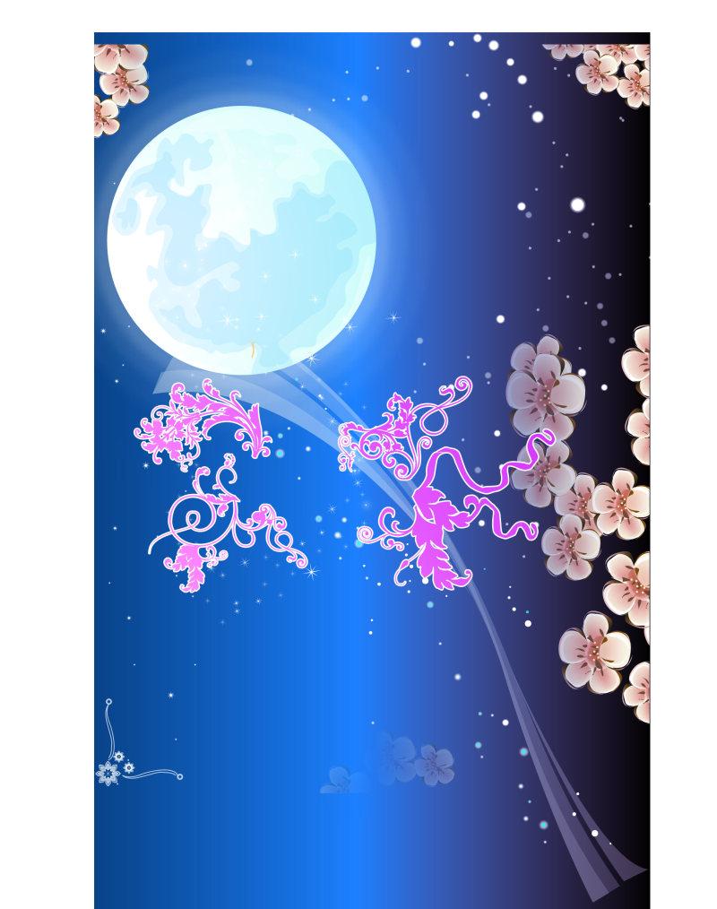 卡通中秋节月亮花卉背景图案素材