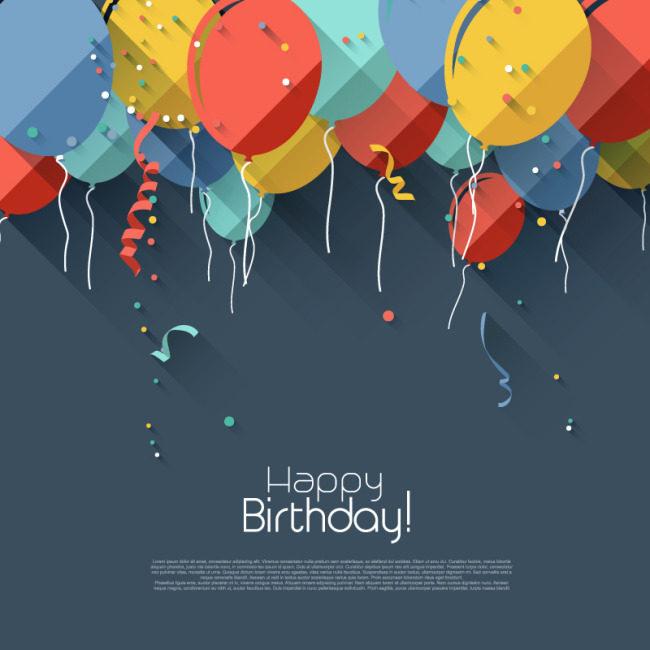 生日快乐 气球海报素材