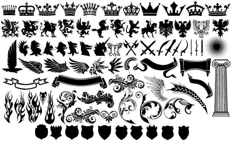 欧式花纹和盾牌皇冠等元素ps形状eps素材