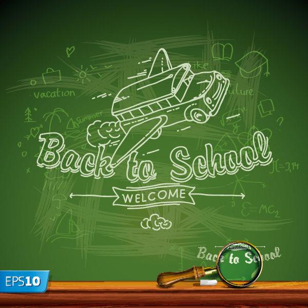 平面/广告 海报 创意海报 开学季黑板报矢量素材下载  搜索