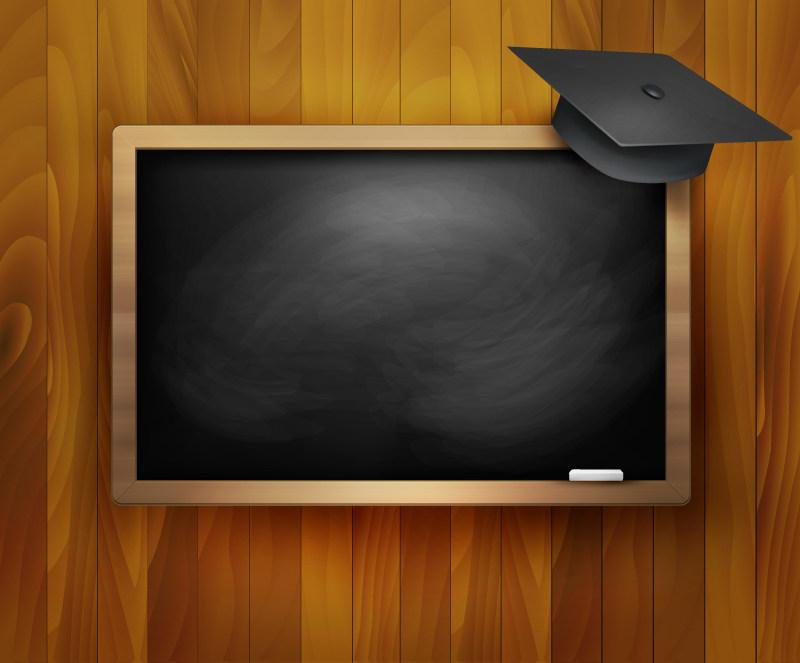 精美黑板与博士帽背景矢量素材eps格式